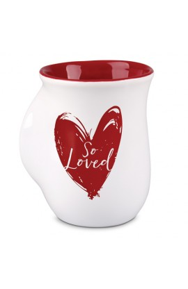 Ceramic Mug Handwarmer So Loved White Red Heart