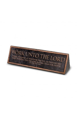 Plaque Cast Stone Desktop Reminder Copper Work Unto the Lord