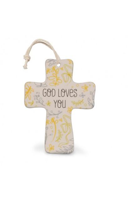 Cross Ceramic Natural Blessings God Loves You
