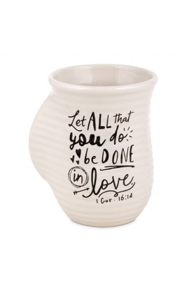 Ceramic Mug Handwarmer Scripture Ink Love