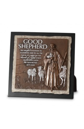 Plaque Sculpture Moments of Faith Stone Good Shepherd Ministry Edition