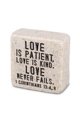 Plaque Cast Stone Scripture Stone Love