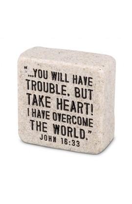 Plaque Cast Stone Scripture Stone Take Heart
