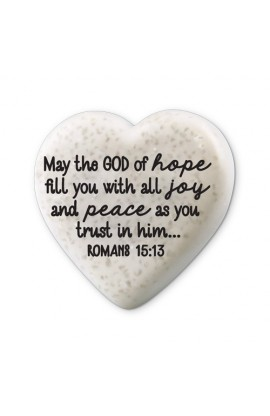 Plaque Cast Stone Scripture Stone Hearts of Hope Joy And Peace