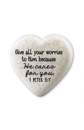 Plaque Cast Stone Scripture Stone Hearts of Hope He Cares For You