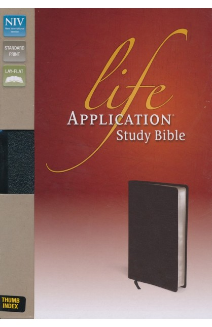 Life Application Study Bible NIV Thumb Indexed Black Top Grain Leather Gilded Silver Page Edges