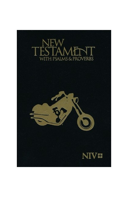 NIV New Testament with Psalms and Proverbs Pocket Sized Black Motorcycle