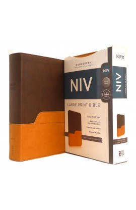 NIV Large Print Holy Bible Chocolate Amber Italian Duo Tone
