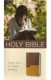 NIV Large Print Holy Bible Chocolate Amber Italian Duo Tone