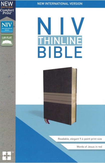 NIV Thinline Bible Chocolate Tan Leathersoft