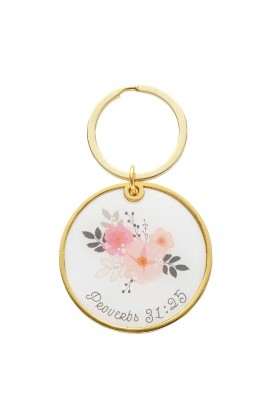Keyring in Tin Strength & Dignity Floral