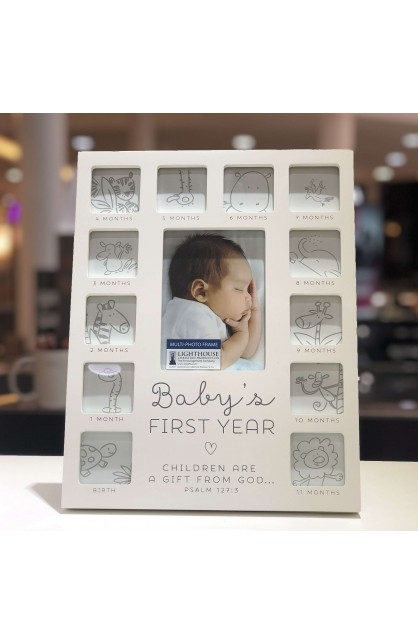 Frame-Collage-MDF-White-Thirteen Photo-Baby's First Year