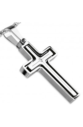 NPZ015 ST Cut out Latin Cross Charm Pendant with Clear CZ