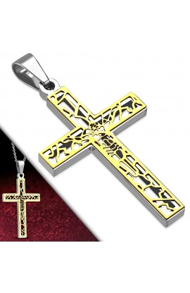 PLY280 ST 2 tone Cut out Chastity Crucifix Latin Cross Pendant