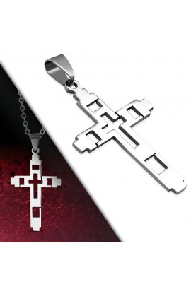 ST Cut out Geometric Cross Pendant