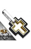ST 3 tone Concentric Cross Charm Pendant