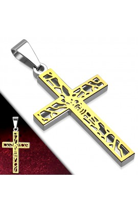 XPT105 ST 2 tone Filigree Chastity Crucifix Latin Cross Pendant