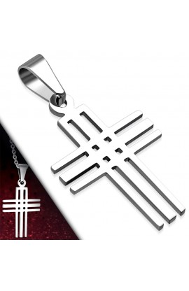 ST Cut out Geometric Latin Cross Charm Pendant