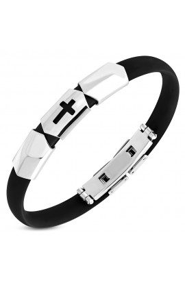MBC003 Rubber Bracelet with Latin Cross Watch Style