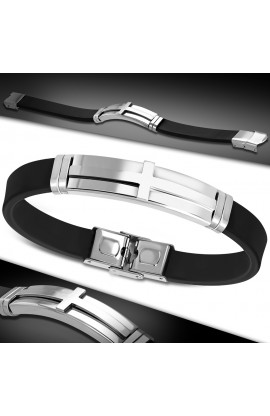 BLT651 Rubber Box Clasp Lock Bracelet with ST Long Cross Watch Style
