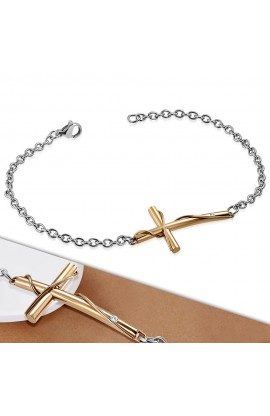 HBO597 ST Cross Watch Style Link Chain Bracelet with Clear CZ
