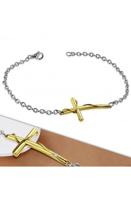 HBO598 ST Cross Watch Style Link Chain Bracelet with Clear CZ