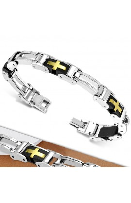 CBB374 ST with Rubber Cross Panther Link Bracelet