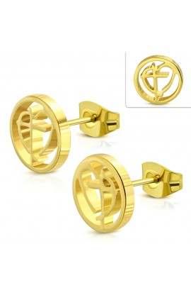 JES486 Gold Plated ST Cross Heart Round Circle Stud Earrings