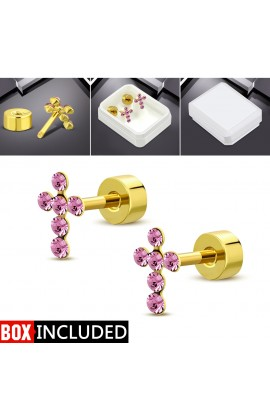 Gold Plated ST Cross Stud Earrings with Rose Pink CZ