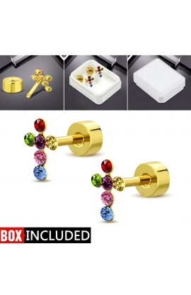 Gold Plated ST Cross Stud Earrings with CZ