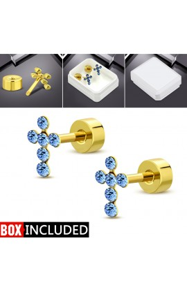 Gold Plated ST Cross Stud Earrings with Blue CZ