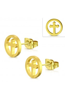 ZEM456 Gold Plated ST Cross Round Circle Stud Earrings
