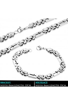 SSS310 ST Lobster Claw Clasp Cut out Cross Byzantine Link Bracelet