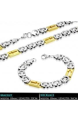 SSS324 ST Lobster Claw Clasp Cut out Cross Greek Key Link Bracelet