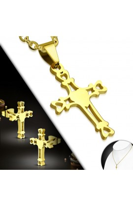 SSO240 Gold Plated ST Heart Cross Chain Necklace & Pair of Earrings SET