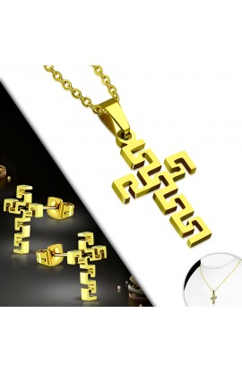 SSO236 Gold Plated ST Cross Necklace & Pair of Earrings SET