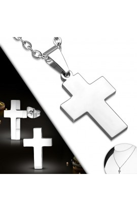 SSO340 ST Cross Charm Chain Necklace & Pair of Stud Earrings SET