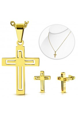 SSO379 Gold Plated ST Cross Charm Chain Necklace & Pair of Earrings SET