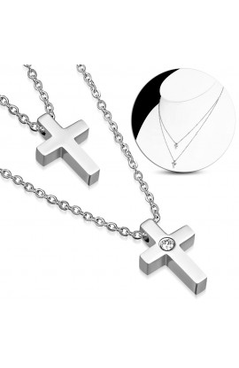 MPV207 ST Cross Charm Link Chain Necklace with Clear CZ