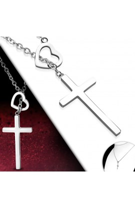 MPV301 ST Heart Cross Charm Chain Necklace