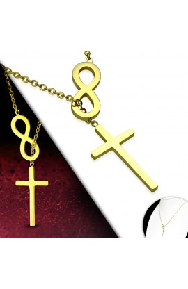 MPV306 Gold Plated ST Infinity Cross Charm Chain Necklace