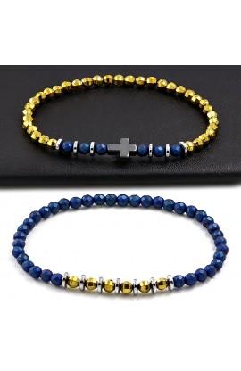 FBS457 2 PCS SET Cross & Faceted Hematite Bead Double Stretch Bracelet