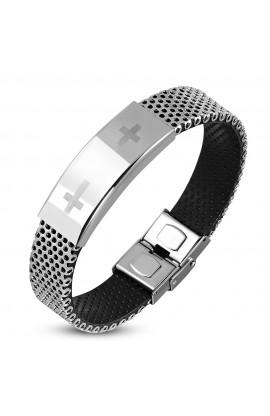 HBD068 Rubber Box Clasp Lock Bracelet w ST Cross Watch Style