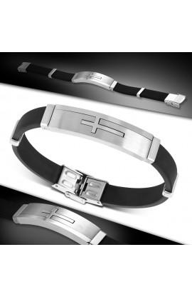 BLT541 Black Rubber Box Clasp Lock Bracelet w ST Latin Cross Watch Style