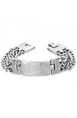 BHB525 ST The Lords Prayer In Spanish Cross Watch Style Bracelet