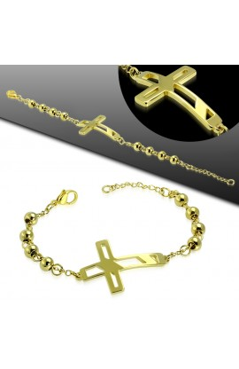 HBO558 Gold Plated ST Latin Cross Watch Style Bead Ball Chain Bracelet
