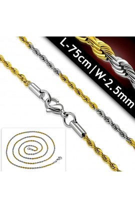 COM129 ST Lobster Claw Clasp Braided Rope Link Chain