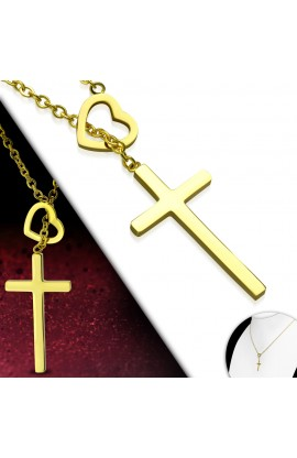 MPV302 Gold Plated ST Love Heart Cross Charm Chain Necklace