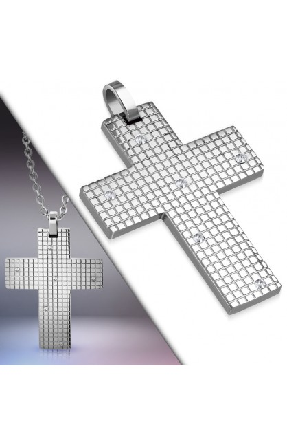XXP270 ST Grid Cross Charm Pendant w/ Clear CZ