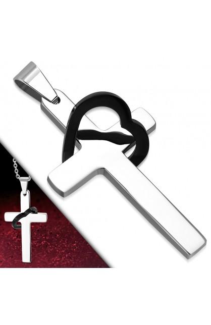 AVP152 ST Love Heart Latin Cross Charm Pendant